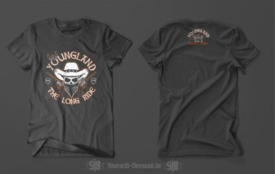 T-SHIRT YOUNGLAND - THE LONG RIDE - DUNKELGRAU
